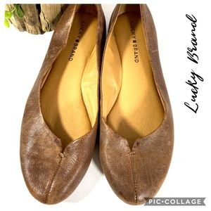 Lucky Brand brown leather flats 8